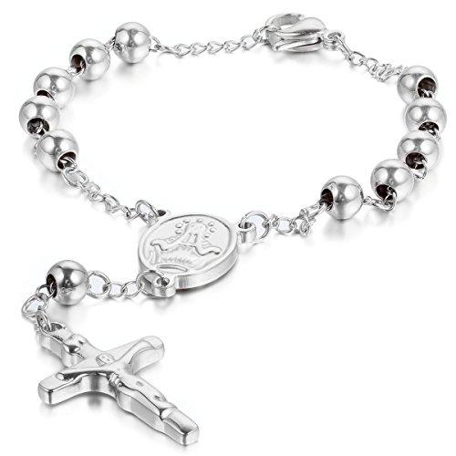 Oidea Mens Womens Stainless Steel Tassle Jesus Crucifix Cross Rosary Bracelet,Beads Bracelet for Christmas8.6 Inch