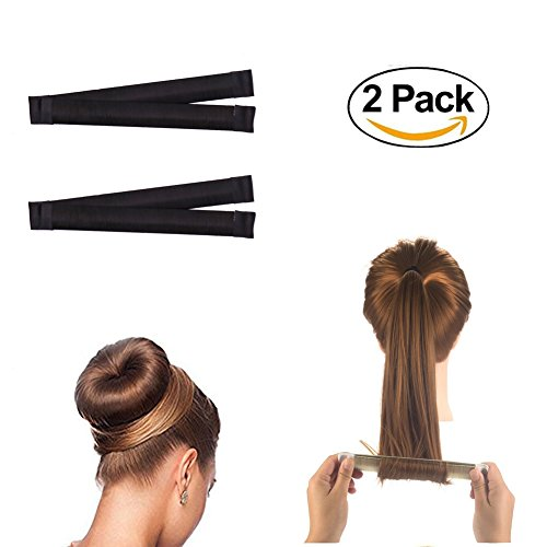 Fashion Styling Mousse - ForUBeauty 2 Pack Hair Styling Disk Donut Bun Maker Foam French Twist Hairstyle Clip Fashion Hair Tool DIY Hair Styling Tool Black