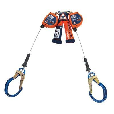"DBI/SALA 3500231 8' Nano-Lok Edge Twin Leg Self-Retracting 3/16"" Galvanized Cable Lifeline with Aluminum Rebar Lock Nose Hooks at Leg Ends, English, 141.128 fl. oz, Plastic, 1"" x 96"" x 0.19"""