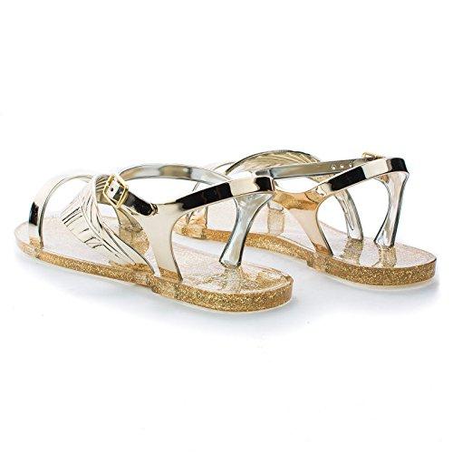Nueva Modajelly Glitter Multi Color Slingback Open Toe Leaf Sandalias Zapatos Oro