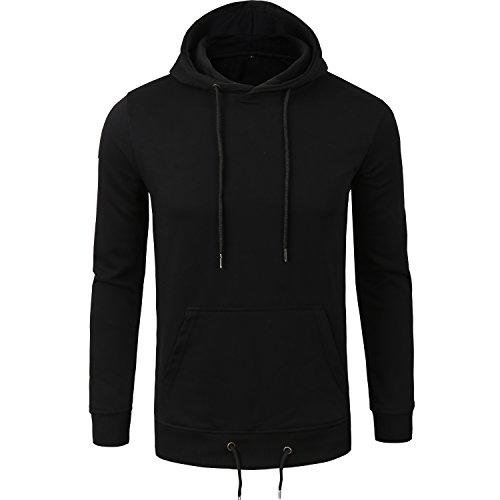 Manwan Walk Men's Pullover Eco Cotton Fleece Hoodie Active Hoodies W140 (XX-Large, Black)