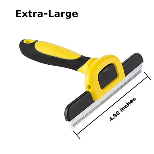 PET Deshedding Tool&Grooming Brush For Dogs&Medium Animals, 125mm Wide Stainless Steel Safety Blade. Dramatically Reduces Shedding In Minutes (Yellow)- by MIU PET