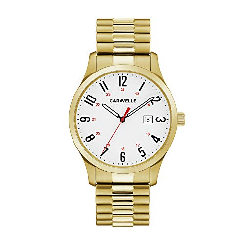 Caravelle Men's Quartz Watch with Stainless-Steel Strap, Gold, 20 (Model: 44B117)