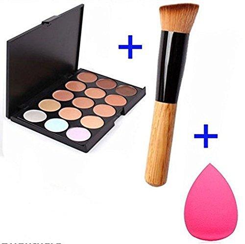 ACE Fashion Women Professional 15 Color Makeup Cosmetic Contour Concealer Palette Make Up+Sponge+Concealer Brush