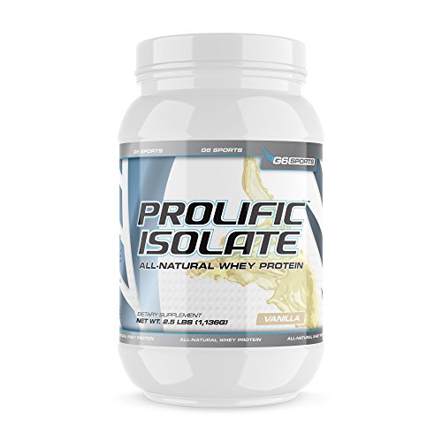 G6 Sports Nutrition Prolific Isolate All Natural Whey Protein Isolate Gluten Free, Lactose Free, Soy Free, Stevia Sweetened, 25g Protein, 100 Calories 2.5lb Jar Vanilla