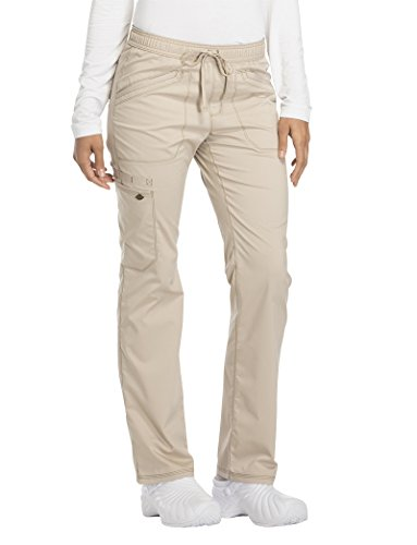 Dickies Essence Mid Rise Straight Leg Drawstring Pant Scrub Bottoms Khaki Large
