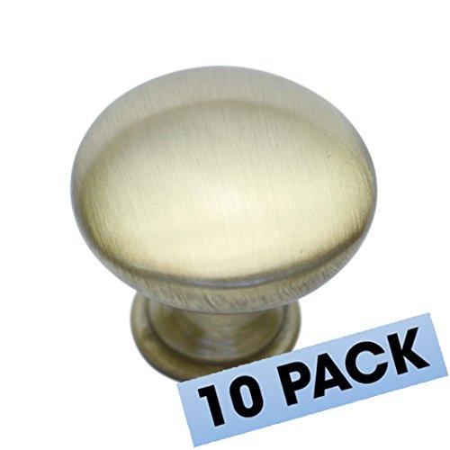 "Hamilton Bowes Satin Brass Cabinet Hardware 1-1/4"" Round Mushroom Modern Basic Knob - 1.25"" Diameter – 1-3/32"" Tall Modern Gold Vibrant Amber (10 Pack) (Tall Brass Knob)"