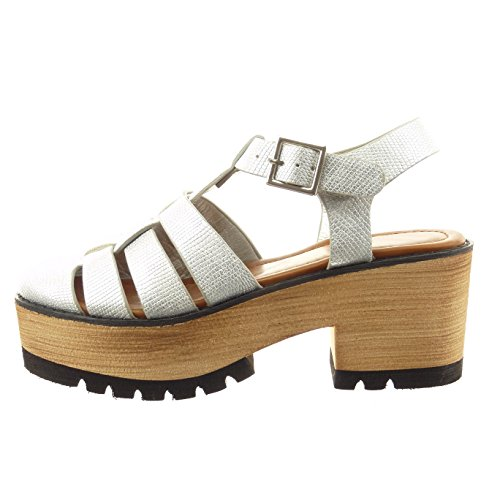 zapatillas madera Zapatillas Tobillo sintético de Plata Talón ancho 7 mujer plantilla de CM Sandalias plataforma abierto Moda alto Tacón Sopily 4IxCqvv