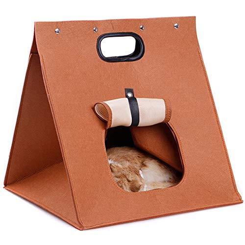 Blnboimrun Pet Condo,Cat Dog Tent Bed Folding Portable Wool Felt Hole Bed Travel Bag Kitten Cave Bed 3 in 1 Indoor Outdoor Pet Home,Walking Bag Suitable