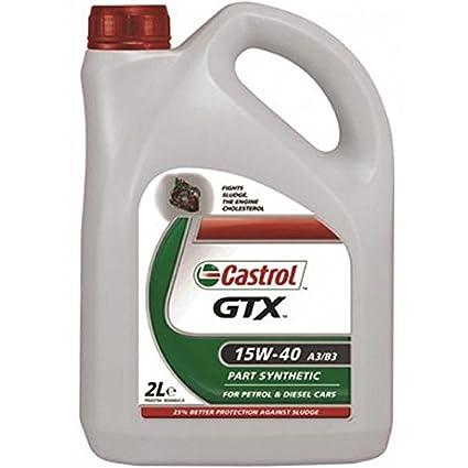 Castrol GTX (15 W-40 A3/B3) aceite 2L: Amazon.es: Coche y moto