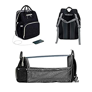 3 in 1 Baby Travel Foldable Bed Diaper Bag Backpack Portable Diaper Changing Station with USB Charge (Upgraded Black)