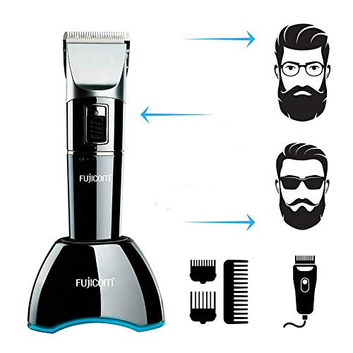 Fujicom Professional Cordless Hair Clippers for Men Beard Trimmer Professional Barber Salon Hair Trimmer Grooming Cutting Kit Rechargeable with Charging Dock Guide Combs Fast Charge Lithium Battery ()