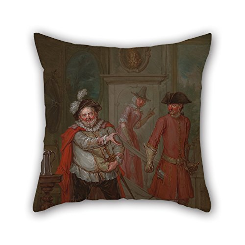 - 20 X 20 Inches / 50 By 50 Cm Oil Painting Marcellus Laroon The Younger - Scene From Shakespeare's 'Henry IV, Part I' Pillow Cases,two Sides Is Fit For Birthday,dining Room,club,chair,christmas,pub