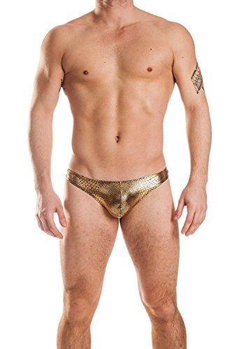 Mens New Gold Anaconda Thong Swimsuit Underwear Gary Majdell Sport Size (Anaconda Suit)