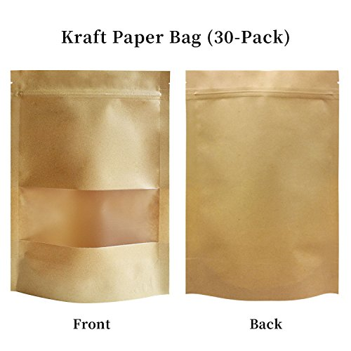 51groups Kraft Paper Bag with Transparent Window (30-Pack) Dry Food Snack Storage | Home , DIY, Commercial Use | Store Coffee , Tea Leaves , Nut, Candy | Food-Grade Safe 7