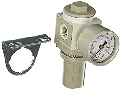 "PneumaticPlus SAR2000M-N02BG Air Pressure Regulator, 1/4"" Pipe Size, NPT with Gauge and Bracket"