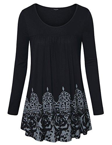 Lotusmile - Camiseta de manga larga - Túnica - Floral - Cuello redondo - para mujer negro