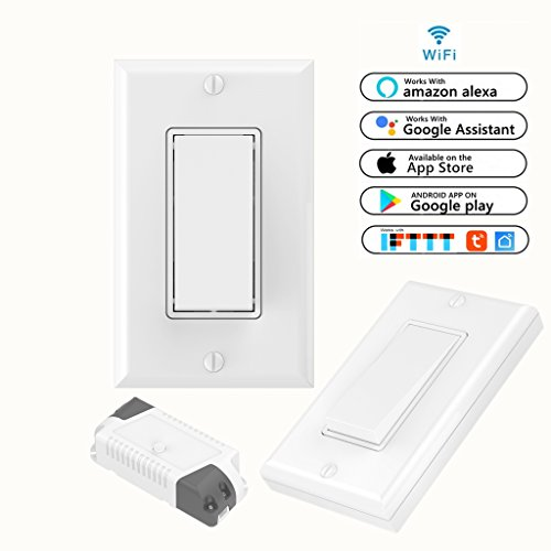 3 Way Smart WiFi Light Switch Kit: Self-Powered Wireless Switch & Smart WiFi Receiver Compatible with Alexa Google Home WiFi & RF Remote Control lights ceiling fans and other electronics (Three Light Home)