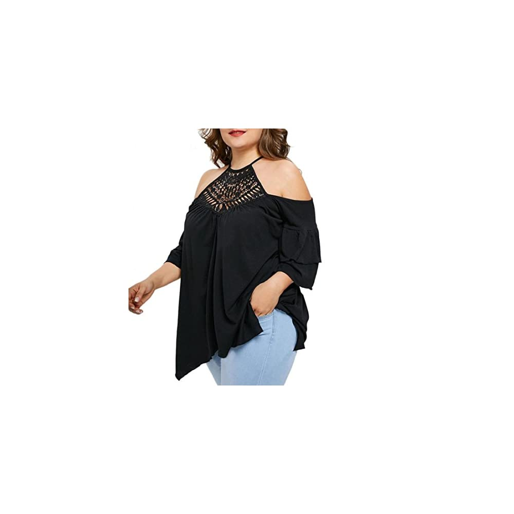 3f08d4c8730 GONKOMA Women Plus Size Short Sleeve Casual Tops Blouse Lace Crochet  Backless Tops Shirts. Spread the love. 🔍. Amazon.com ...