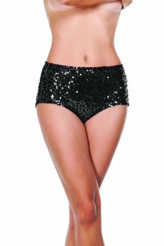 Starline Women's Sequin High Waist Shorts, Black, Medium by Starline