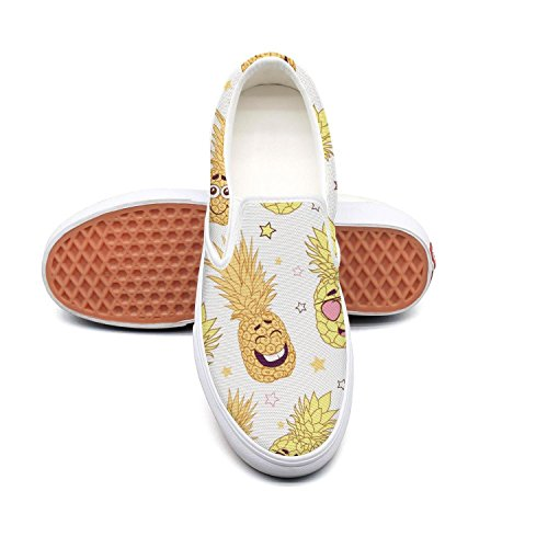 PDAQS Women funny yellow pineapple faces white loafers slip on sneakers low top