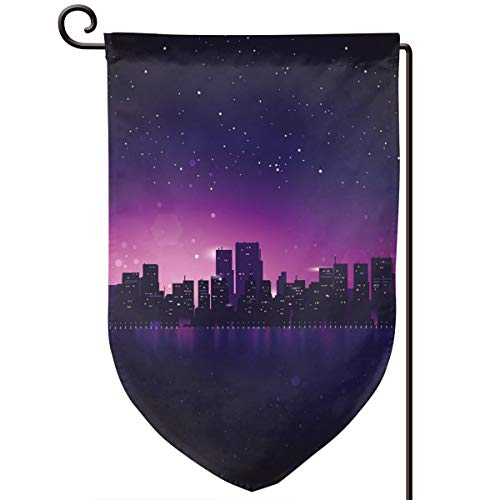 Xuforget Outdoor Garden Flags Night City Skyline Silhouette Skyscrapers Double-Sided Decorative Flag 12.5 X -