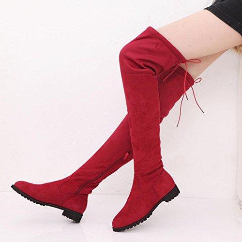 TPulling Herbst Winter Schuhe Mode Stylische Damen plus Samt Knie Stiefel Reissverschluss Wohnungen Hohe Röhre Stretch Stiefel Rot