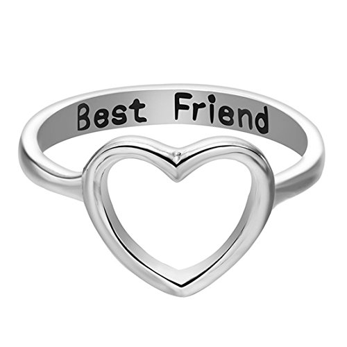 Titanium Rings Carved (UNKE Simple Charm Best Friends Carved Hollow Heart Ring BFF Friendship Jewelry for Girls,Silver,9#)