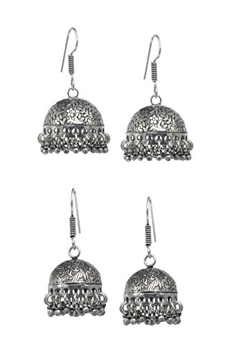 lry Fashion Traditional Ethnic Bridal Bollywood Jewellery Weightless Silver Plated Black Oxidized Metal Christmas Bell Shaped Dangle Party Wear Jhumka Jhumki Earrings For Women ()