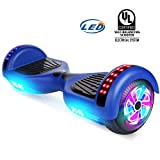 YHR Hoverboard UL 2272 Certified Two Wheel Electric Scooter Colorful Led Side Light Smart Self- Balancing Scooter (Blue)