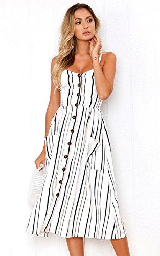 Angashion Women's Dresses-Summer Floral Bohemian Adjustable Spaghetti Strap Button Down Swing Midi Dress with Pockets 3