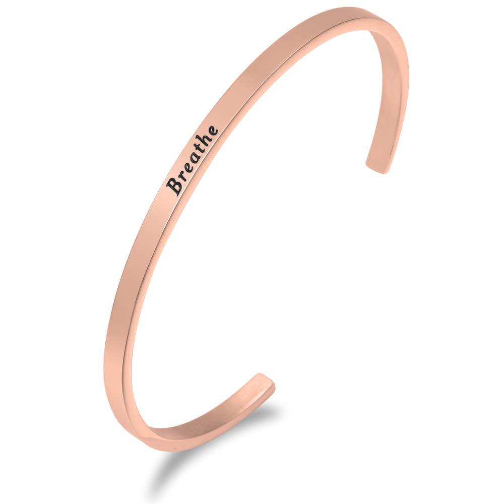 Lademayh Inspirational Faith Bracelet Engraved Friendship Bracelets for Women Girls Rose Gold Personalized Mantra Cuff Bangle