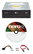 LG 24x GH24NSC0 Internal DVD Burner Bundle with Nero Essentials Burning Software and Cable Accessories