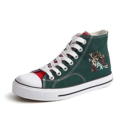 Ayuda Popular Pareja Lona Alta Fashion Con Cordones Zapatos Ocasionales De Green53 Bts Transpirables qzx0tRn