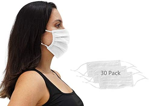 30 Pack Unisex White Face Mask Reusable Pleated Fabric with Adjustable Elastic, 2 Layer, Washable, Nose Wire