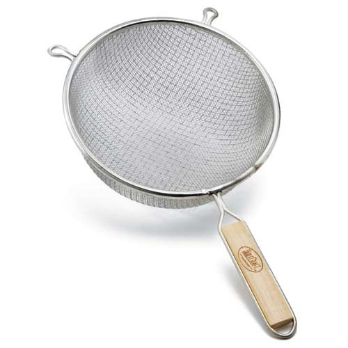 Tablecraft 88 8-Inch Single Mesh Strainer, Medium, 1 Tinned/wood handles -