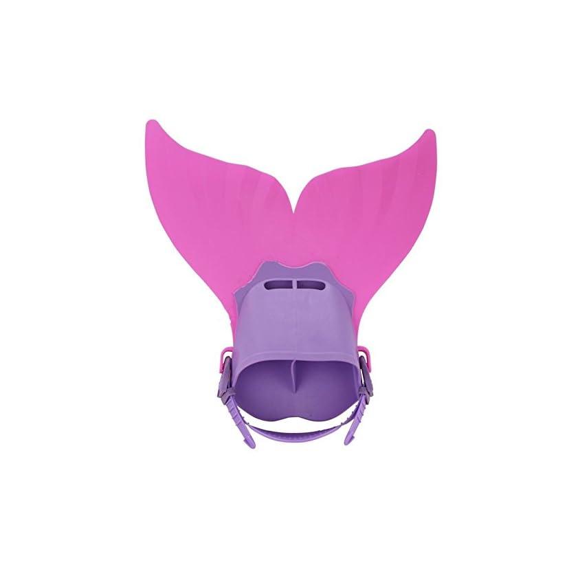 Wetietir Children Adjustable Swimming Mermaid Fins Training Foot Flipper (Pink+Purple)