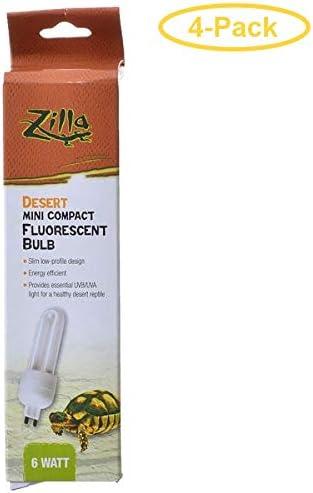 2 Pack 6 Watt Zilla Mini Compact Desert Fluorescent Bulb