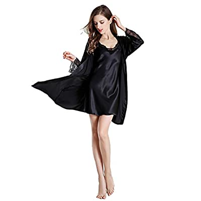Womens Silk Kimono Bathrobe Lace Trim Sexy Robe and Camisole 2 Piece Satin Robes Sleepwear Set