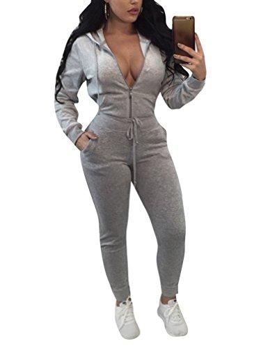 Halfword Womens Velvet 2 Piece Outfits Hoodies Pants Traksuits Sport Sweat Suit Grey XL (Velour Suits Ladies Jogging)