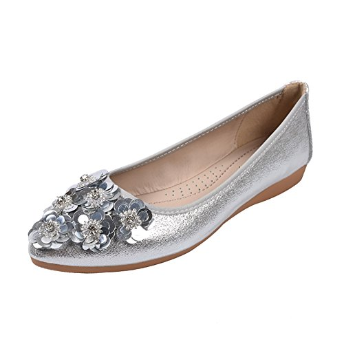 Meeshine Womens Foldable Soft Pointed Toe Ballet Flats Rhinestone Comfort Slip On Flat Shoes (10 B(M) US, Silver 02)
