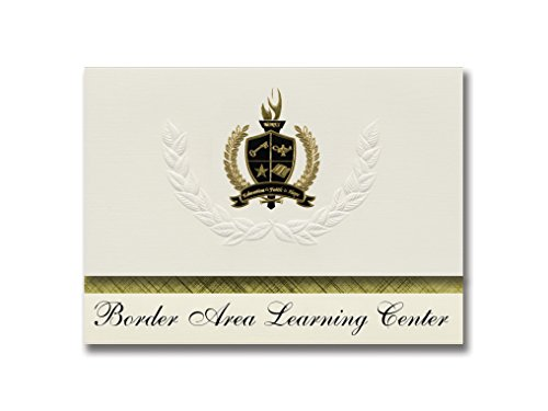 Metallic Gold Border Invitation (Signature Announcements Border Area Learning Center (Warroad, MN) Graduation Announcements, Pack of 25 with Gold & Black Metallic Foil seal, 6.25