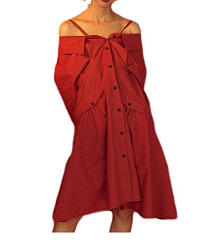 Coolred-femmes Boucle T-shirts De Couleur Unie Cami Sexy Épaule Froide De Robe De Soirée Rouge