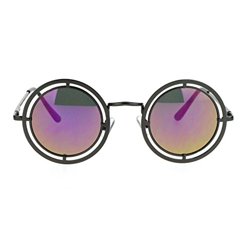 SA106 Victorian Steam Punk Double Frame Round Circle Lens Sunglasses Gunmetal - Steampunk Victorian Sunglasses