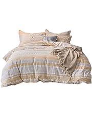 UMI. Essentials Seersucker 100% Cotton Yarn Dyed Duvet Cover Set