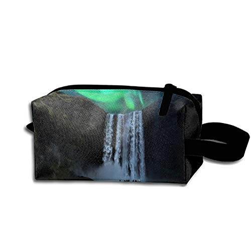Price comparison product image scakoko Painting Aurora Waterfall Travel Cosmetic Bag Portable Makeup Pouch Pencil Holders