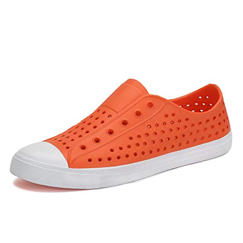 Garden Womans - SAGUARO Mens Womens Lightweight Breathable Slip-On Sneaker Garden Clogs Beach River Sandals Water Shoes Orange 7 M US Women / 6 M US Men