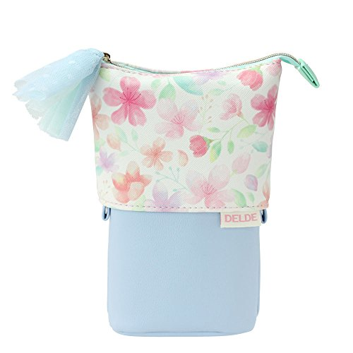 (DELDE Cosmetic Pouch, Happy Spring Limited Color (Cherry Blossoms White))