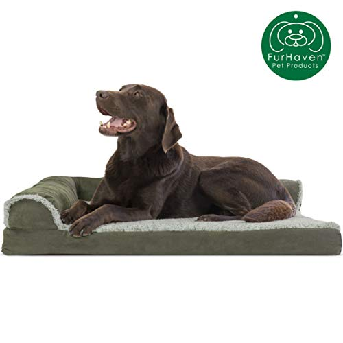 Furhaven Pet Dog Bed | Deluxe Orthopedic Two-Tone Plush Faux Fur & Suede L Shaped Chaise Lounge Living Room Corner Couch Pet Bed w/ Removable Cover for Dogs & Cats, Dark Sage, Large