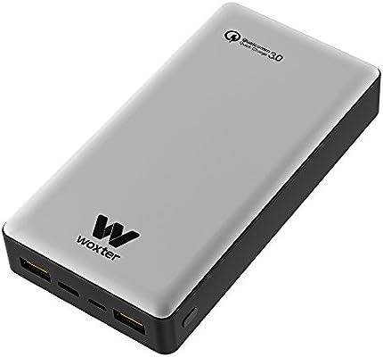 Woxter Power Bank QC 20.500 Silver - Batería portátil con conexión QC de 20.500 mAh